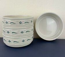 "4 Longaberger Pottery Women Traditions Green 6"" Stackable Cereal Bowls USA"