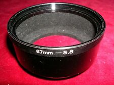METAL LENS HOOD. 67mm -S.8 SILVER SCREW ON BASE