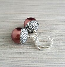 Handmade Rust Glass Pearl Acorn Earrings