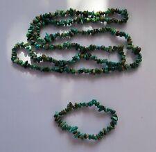 029 Tibetan Turquoise chip bead necklace 90cm and stretch bracelet set