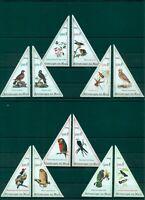 Birds Vogel Fauna 12 MNH triangle stamps set