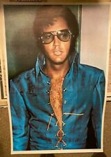 ELVIS PRESLEY 1970's BLUE SUIT THE KING VINTAGE NOS POSTER ROCK & ROLL -NICE!
