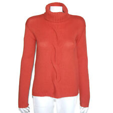 GARNET HILL CASHMERE TURTLENECK Big Cable Knit Red Women's Sweater Small - 0159
