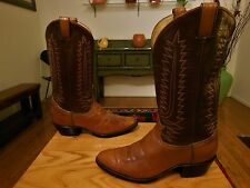 Vtg TONY LAMA Men's 2-Tone Brown/Tan Leather Black Label Cowboy Boots  9D  USA