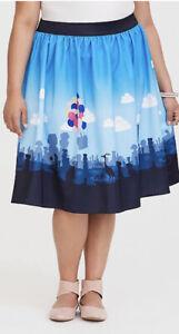 Excellent Torrid Disney Pixar Up Balloon House Border Print Satin Skirt Size 20