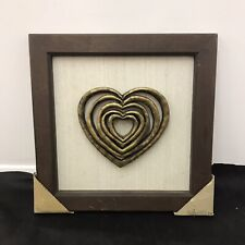 Large Wall Hanging Art Picture Display Wood Frame Gold 3D Heart Linen Textile