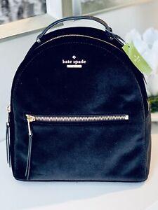 NWT Kate Spade Sammi Mini Backpack, STUNNING Black Velvet/Leather zip front