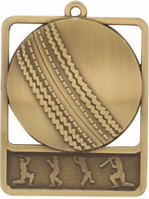 Cricket Medal Award 60x50mm FREE Engraving & Neck Ribbon