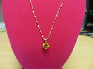 """14 K Yellow Gold Natural 8 mm Yellow Topaz Rope  Necklace  chain 20"""""""