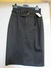Smart Black High Waist Knee Length Skirt by Set with Belt in Size 6 / 8 - NWT