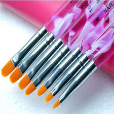 1 Set (7 pcs) UV Gel Acrylic Nail Art Builder Brush Pen Painting (Color: Purple)