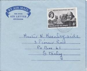 FALKLAND ISLANDS 1964 AIRLETTER LOCALLY USED PORT STANLEY + SHAKESPEARE 6d STAMP