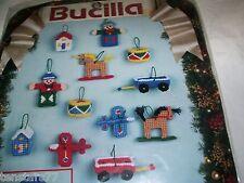 BUCILLA CHRISTMAS TOYS ORNAMENT PLASTIC CANVAS KIT Complete Makes 12 Ornaments