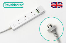 World Wide Travel Adapter COCOS ISLAND Extension Lead Multi 3 UK Plug 4 USB t...