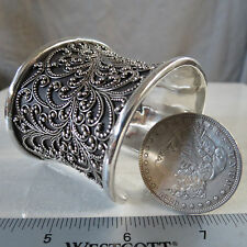 Lois Hill Cuff Bracelet Classic Granulated Dot Scroll 925 Sterling 132 Grams WOW