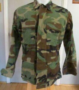 Military Issued Woodland Camouflage Combat Shirt Jacket Medium-Regular