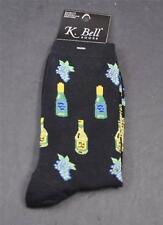 NWT New K Bell Socks Black Blue Grapes Green Yellow Wine Bottles Crew Size 9-11