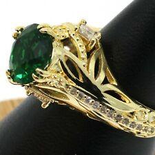 Round Green Emerald Diamond Ring Birthday Women Jewelry Size 5 to 9
