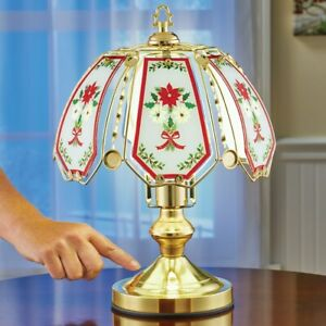 Christmas Poinsettia and Holly Garland Touch Base Glass Panel Table Lamp