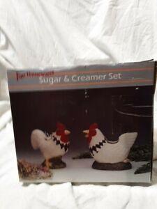 Artmark Collector  Rooster Sugar and Creamer Set