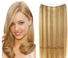 Invisible Wire Flip No Clip In Remy Human Hair Extension Strawberry Blonde Mix