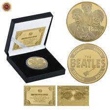 WR The Beatles Gold Plate Commemorative Coin Rock & Pop Fan Souvenir in Gift Box