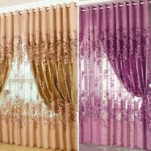European Peony Pattern Voile Curtains Tulle Sheer Valances Home Decor