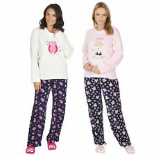 Womens Ladies Microfleece Pyjama Bed Socks Set Cute Animal Print Fox Owl Novelty