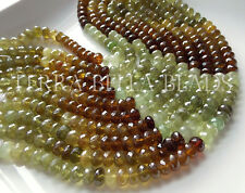"5"" AAA GROSSULAR GARNET faceted rondelle gem stone beads 8mm green amber"