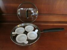 CHEFMATE Stainless Steel 4 Egg Poacher Pan & Glass Lid