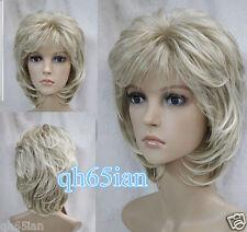 2014 Vogue Ladies Women short blonde wavy Cosplay full Wigs+wig cap