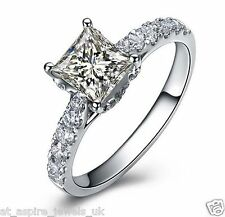 1.75 Ct Princess Cut Solitaire Diamond Engagement Ring Solid 14ct White Gold