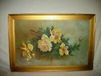 ANTIQUE ROSES OIL PAINTING 1890's VICTORIAN CHIPPY GILT FRAME OLDIE
