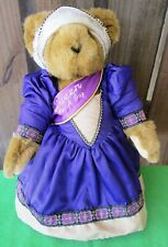 """VERMONT TEDDY BEAR QUEEN FOR A DAY - 17"""" BROWN BEAR W/PURPLE GOWN & GOLD CROWN"""