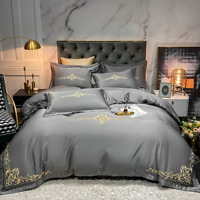 Wash Silk Cotton Embroidery Bedding Set Duvet Cover  4pcs Bedclothes Bed Sheet