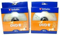 2 X 10 Pack Verbatim 97957 DVD-R 4.7GB 16X 120 min Brand New Sealed 20 Total