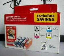 Canon BCI-3e Black and BCI-6 C/M/Y Color Ink Cartridge & 50 Photo Paper Glossy