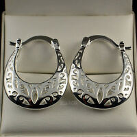 Pretty 18ct White Gold Filled Filigree Half Moon Hoop Drop Earrings UK New - 56