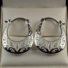 Pretty 18ct White Gold Filled Filigree Half Moon Hoop Drop Earrings UK New - 56