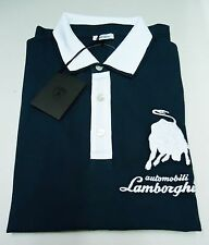 LAMBORGHINI AUTHENTIC MEN'S LARGE CONTRAST-STITCHING BLUE W/ WHITE JERSEY POLO