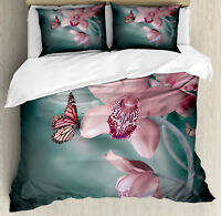 Floral Duvet Cover Set with Pillow Shams Orchid Flower Butterfly Print