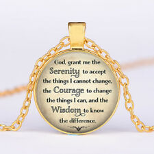 Serenity Prayer Tibet Gold Glass dome Necklace chain Pendant Wholesale