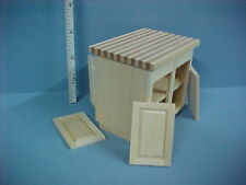 Dollhouse Miniature Kitchen Center Island Cabinet - Unfinished  #14411