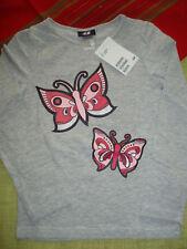 H&M Mädchen langarm Shirt Glitzer Schmetterling grau rosa Gr.110/116 - NEU
