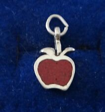Sterling Silver 15x10mm Red Apple Charm for Fall/Back to School