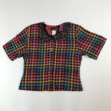 Vtg Carole Little Multicolored Checked S/S Blouse w/ Loop Lattice Collar Sz 12