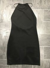 MISSGUIDED BLACK SIZE 8 BODYCON STRETCH SHORT DRESS WITH ELASTIC CROSSOVER STRAP