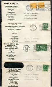 p873 - Canada Toronto 1920s Lot of (4) Marks Stamp Co Covers. Slogan Cancels