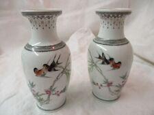 Vintage pair black & white porcelain Vases Swallows Tree Branch