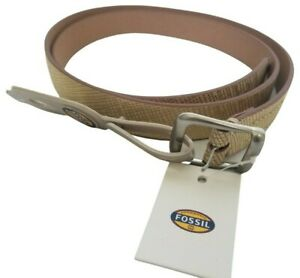 """Fossil Womens Light Gold Leather Silver Tone Buckle Hip Belt 41"""" Large New AS IS"""